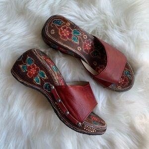 Vintage Handmade Red Floral Clog Slide Sandals